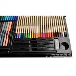 MT Malatec Rajz- és festőkészlet gyerekeknek, 258 darab, akvarellek, ceruzák, ecsetek, zsírkréták, tárolódoboz