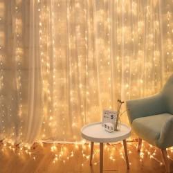 MT MALATEC Fényfüggöny, 3x3m, 300 melegfehér LED, 6W, 8 megvilágítási mód, IP44