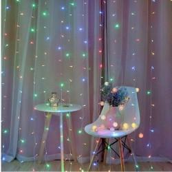 MT MALATEC Fényfüggöny, 3x3 m, 300 sokszínű LED, beltéri / kültéri, 8 megvilágítási mód