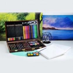 MT Malatec Rajz és festőkészlet, 81 tartozék, zsírkréta, ceruza, akvarell, fa táska