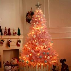 ProCart® Karácsonyi műfenyő, rózsaszín ágak, magasság 220 cm, tartóval, hajlékony ágakkal