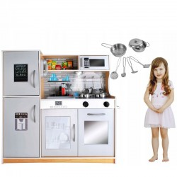 MT MALATEC Gyerekkonyha, fa 80x80,5cm, edények, LED lámpa, tűzhely, sütő, telefon, mosogató