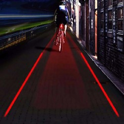 ProCart® LED kerékpár hátsó lámpa, 5 LED, biztonságos folyosó lézervetítés, AAA elem tápegység