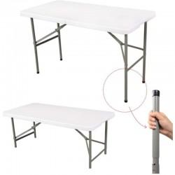 ProCart® Összecsukható asztal, kemping, fém váz, szállító fogantyú, 122x61x74 cm, fehér