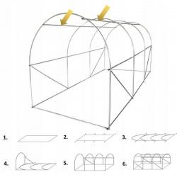 ProCart® Melegház, alagút típusú, 3x2x2 m, PE fólia 140g / m2, UV4 szűrő, fémkeret, gördülőajtó
