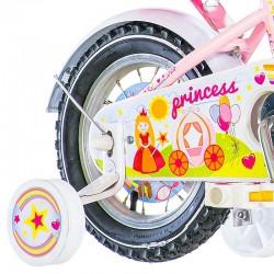Visitor Princess kerékpár, 16 hüvelykes, babakosár és ülés, kiegészítő kerekek, rózsaszínű