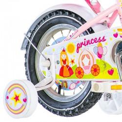 Visitor Princess  kerékpár, 12 hüvelykes, babakosár és ülés, kiegészítő kerekek, V-Brake, rózsaszín