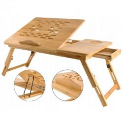 """MT Malatec laptop asztal, 17 """", összecsukható, 4 lépcsős, fiók, pohártartó, fa"""