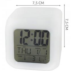 MT MALATEC LED digitális megvilágított óra, hőmérséklet, naptár, riasztási funkció, 8 dal