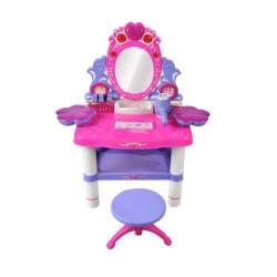 MT Malatec toalett asztal szett lányoknak, szék, forgatható LED tükör, ékszerek