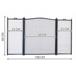 Kaminer Kandalló Védő pajzs, 100x60 cm, 3 szegmens, hálós kerítés, acél, elegáns kivitel