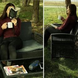 MT Malatec teraszbútor készlet, kanapé, 2 fotel, dohányzóasztal, fekete rattan modell