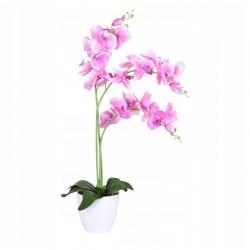 ProCart® dekoratív mű orchidea, 24 virág és rügy, cserép, magasság 65 cm, rózsaszínű