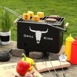 BBQ Faszenes grillsütő, téglalap alakú, hordozható, szén, levehető grill, 32x20x20cm