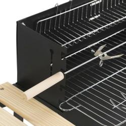 BBQ Faszenes grillsütő, téglalap alakú, 2 kerekű, polc, oldalsó munkalap, acél és fa