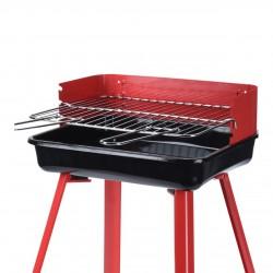 Faszenes grillsütő, állítható magasság, fém, piros 360x310x450 mm
