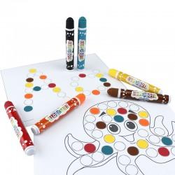Set 6 carioci Dot Markers, 20ml lavabila, culori diferite, +3 ani