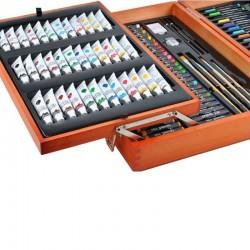 Trusa pictura/desen 174 piese, creioane, vopsea, markere, valiza lemn